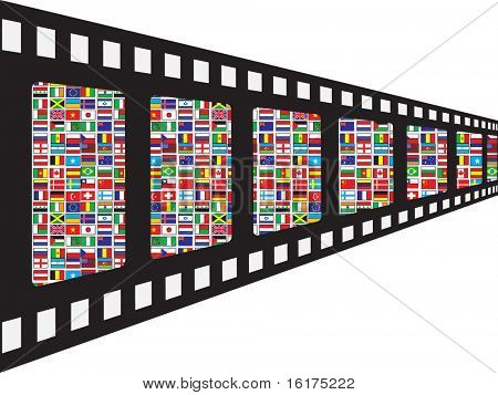 (raster image of vector) film stripe with world flags