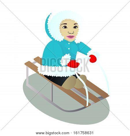 Child sledges isolated on white vector illustration