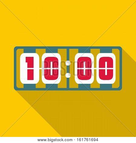 Yellow digital clock icon. Flat illustration of yellow digital clock vector icon for web