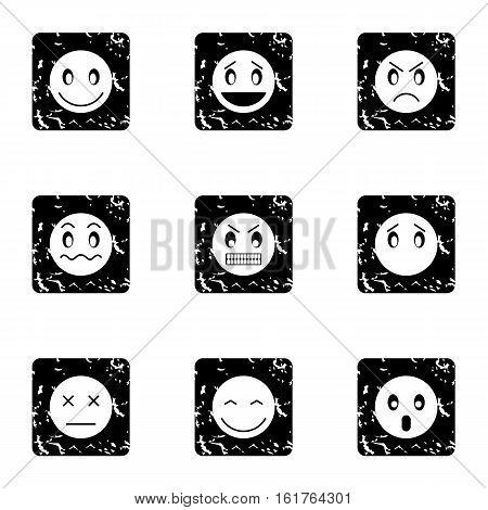 Types of emoticons icons set. Grunge illustration of 9 types of emoticons vector icons for web
