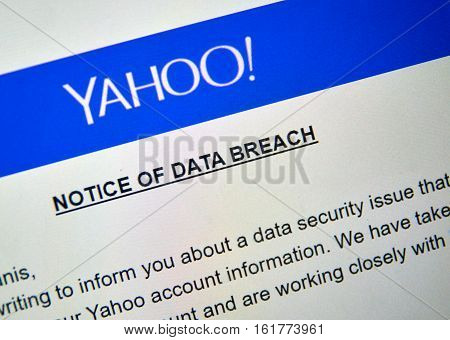MONTREAL CANADA - DECEMBER 15 2016 : Yahoo Notice of data breach picture of laptop screen.