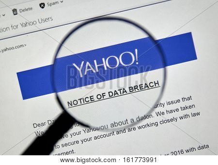 MONTREAL CANADA - DECEMBER 15 2016 : Yahoo Notice of data breach under magnifying glass.