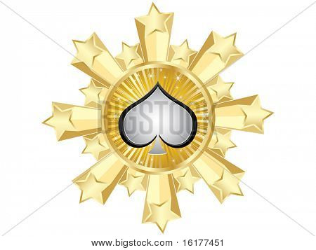 (raster image of vector) golden casino banner-heart