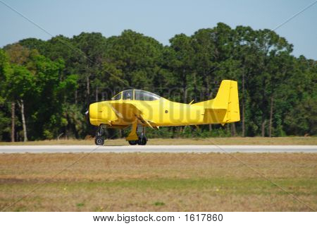 Vintage Yellow Airplane T-28 Trojan