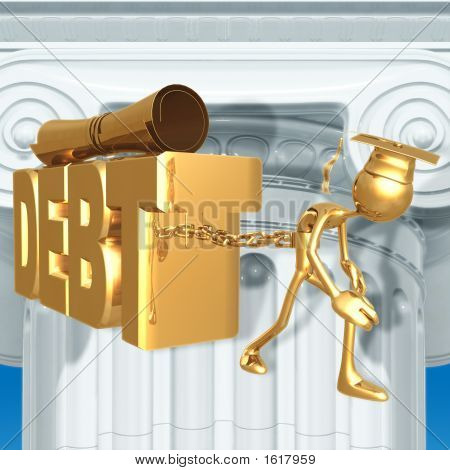 Golden Grad Chained To Education Debt Graduation Concept