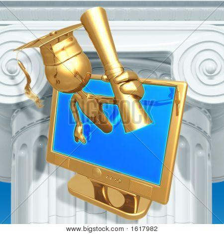 Golden Grad Online Education Holding A Diploma Graduation Concept