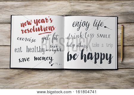high-angle shot of a pencil and a notebook with some new years resolutions written in it, such as exercise, get fit, eat healthy, save money, smile, enjoy life or be happy, on a rustic wooden surface