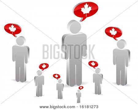 (raster image of vector) group of canadian people