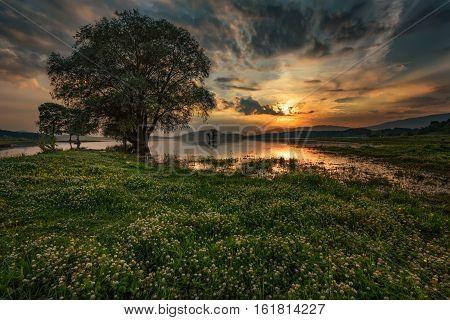 Magnificent summer sunset at Zhrebchevo Dam, Bulgaria