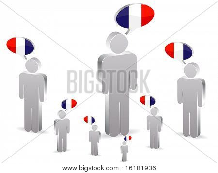(raster image of vector) group of franch people