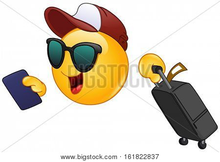 Hurrying Air traveler holding his passport and dragging a suitcase