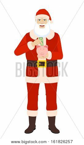 Santa Claus puts banknote in a piggy bank. Santa Claus save money in piggy bank. Full length portrait of Santa Claus in a flat style. Vector illustration.