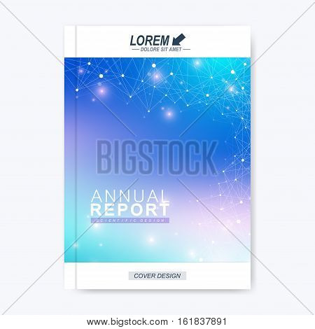 Modern vector template for brochure, leaflet, flyer, cover, catalog, magazine or annual report. Business, science, technology design book layout, A4 size. Scientific molecule background presentation