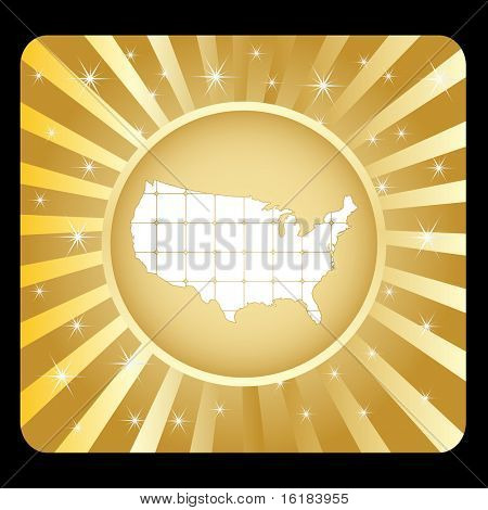 (raster image of vector) american map design