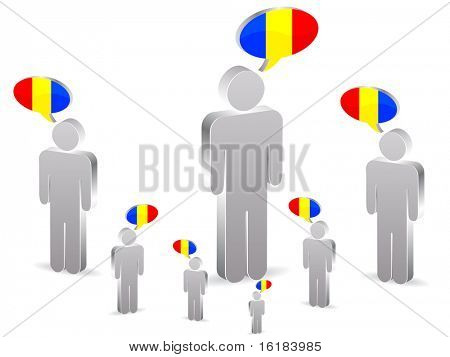 (raster image of vector) group of romanian people