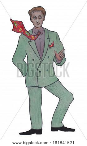 Retro drawing of a young man in a green suit and a colorful tie