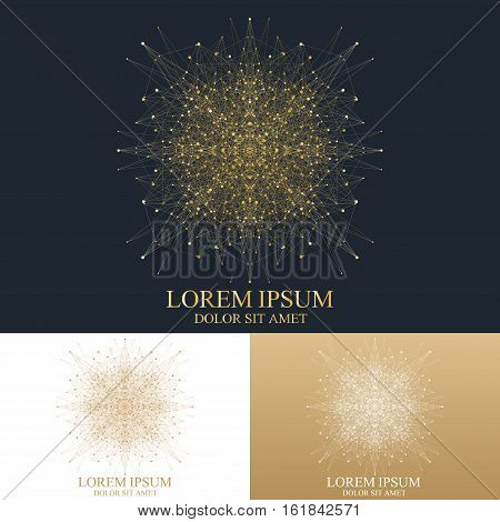 Geometric abstract round form with connected line and dots. Graphic composition for medicine, science, technology , chemistry. Vector Logo Template