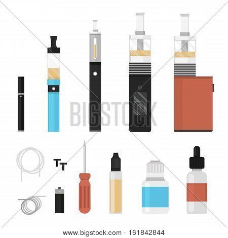Vaping colored icon set. Vaporize, vape, e-cigarette, e-cig, electronic cigarette.