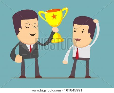 Businessman tells how to get a prize. Man dreaming about success. Vector flat illustration