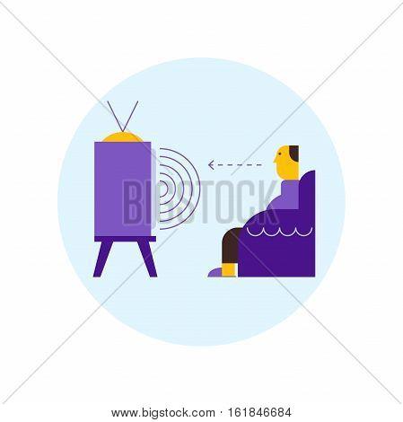 Man watching tv. Mass Media influence concept