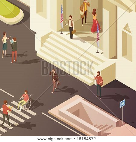 People in street near government building isometric vector illustration