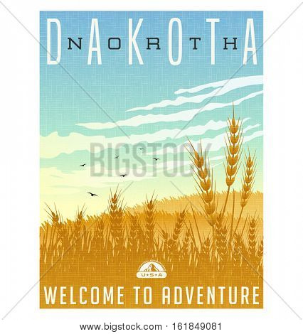 North Dakota, United States travel poster or luggage sticker. Scenic illustration of golden wheat fields with blackbirds and cirrus clouds overhead.