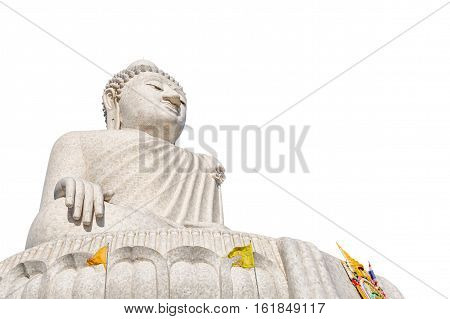The Big Buddha isolated on white background. Nakkerd hills in Ao Chalong, Phuket, Thailand. Phuket's Big Buddha is one of the island's most important and revered landmarks on the island.