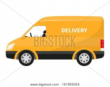 Vector illustration cartoon yellow delivery truck. Concept fast trucking. Isolated white background. Flat style. Van free deliver. Car for transportation goods. Icon delivery goods by truck side view.