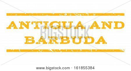 Antigua and Barbuda watermark stamp. Text caption between horizontal parallel lines with grunge design style. Rubber seal stamp with dust texture.