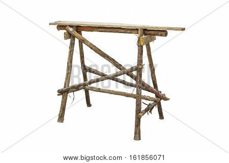 Wooden scaffolding isolated on white background with clipping paths.