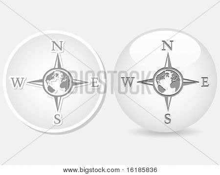 (raster image of vector) Compass white buttons