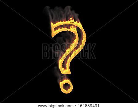 Question mark in fire with fume. 3d render. Digital illustration.