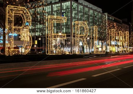 Berlin City At Night , Illuminated Letters On Street