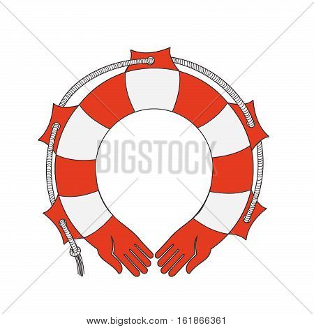 Symbol lifebuoy isolated on white. HANDS-LIFEBUOY allegory of mutual Vector Illustration