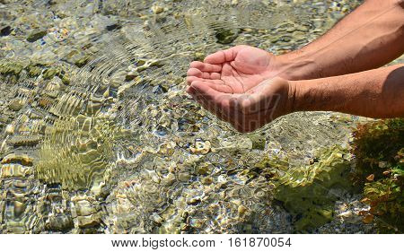 sparkling clean and transparent water.Natural waters in nature.