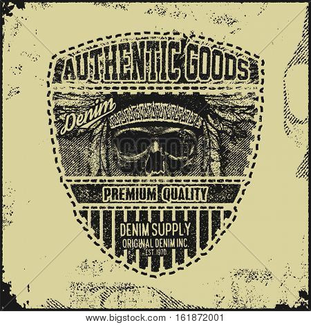 Vintage Denim typography, grunge t-shirt graphics, Artwork apparel stamp, Wear tee print design, goods emblem, vector
