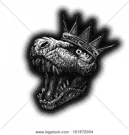 Tyrannosaurus Dinosaur Hand drawn Vector illustration.