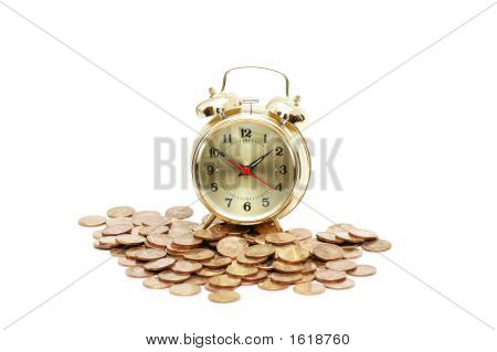 """Time Is Money"" Concept With Clock And Coins"