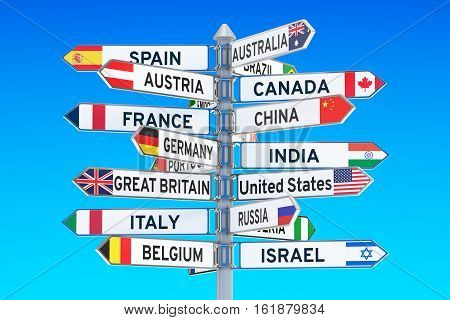 signpost with names of countries 3D rendering