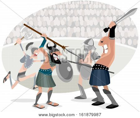 Vector illustration of gladiators fighting in arena