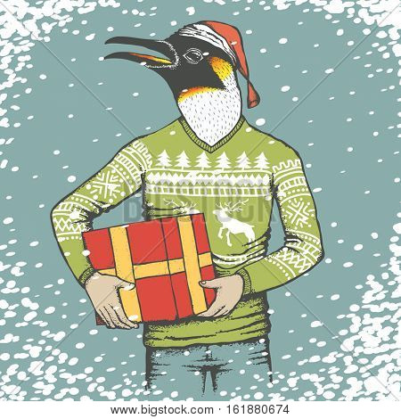 Penguin vector illustration. Penguin in human sweatshirt with Christmas gift and Santa hat on it