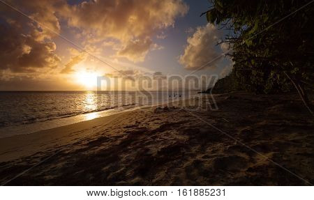 Just before the Sundown on an Exotic Beach in the Pointe Borgnese Natural Site near Marin Martinique Caribbean