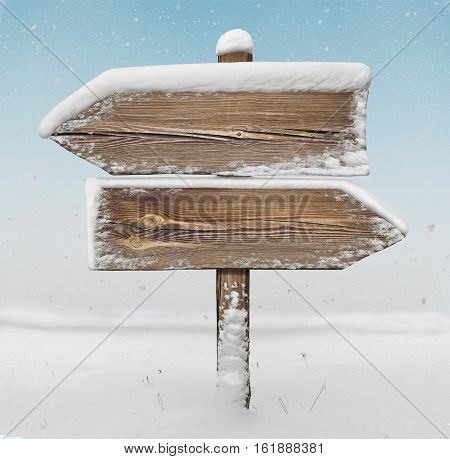 Wooden Direction Sign With Snow And Snowfall Bg. Two_arrows-opposite_directions