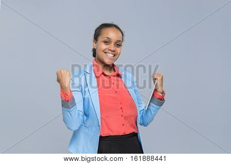 Happy Young Business Woman Hold Tablet Computer Excited African American Girl Businesswoman Isolated Over Gray Background