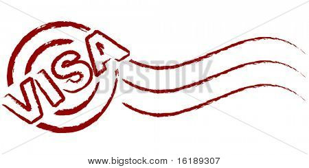 (raster image of vector) visa stamp