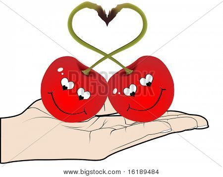 (raster image of vector)Two red cherries in love