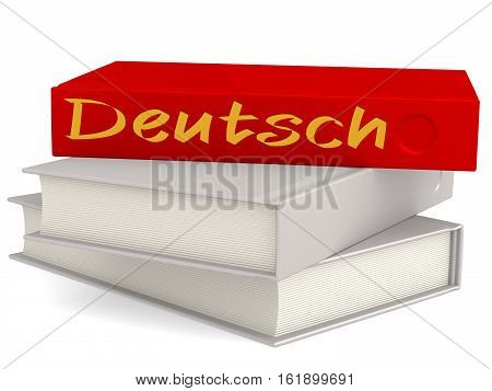 Hard cover books with Deutsch word 3D rendering