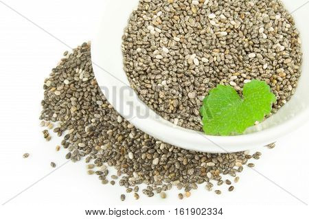 Chia seeds on a white background clipping path