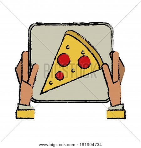 hand boy delivery box pizza drawing vector illustration eps 10