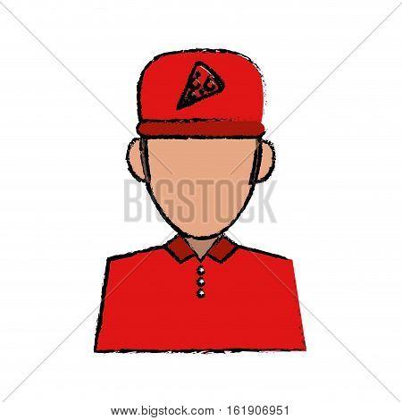 portrait delivery pizza boy sketch vector illustration eps 10